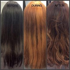 An amazing colour change from black to a warm soft brown into a caramel balayage