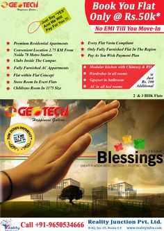 Exclusively marketed by Reality infra, Geotech Blessings Noida Extension 2BHK @ 30 Lakhs Book in just 50000 rest on possession. 09212301155