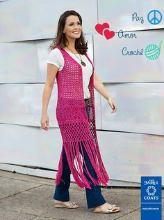 Crochet patterns free: See how beautiful waistcoat in crochet. with a beautiful pink color. a beautiful work yarn crochet. Gilet Crochet, Crochet Vest Pattern, Crochet Jacket, Crochet Cardigan, Crochet Shawl, Crochet Yarn, Crochet Top, Crochet Patterns, Crochet Girls