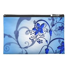 Blue Floral Shadow Dance Travel Accessory Bags