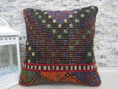 "unique fantastic embroidery kilim pillow turkish pillow 16"" x 16"" pillows decorative couch pillow handmade kelim cushion pillow throw pillow"