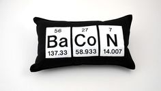 Bacon Periodic Table Element Cotton  Pillow by YellowBugBoutique, $35.00