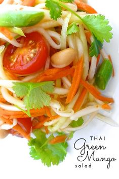 Here's one of my most favorite Asian summer salads: a refreshing Thai green mango salad! Packed with flavor and crunchy vegetables. Easy Thai Recipes, Mango Recipes, Easy Salads, Healthy Salad Recipes, Summer Salads, Asian Recipes, Ethnic Recipes, Veggie Recipes, Thai Mango Salad