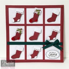 """Linda Fitzsimmons - Die'sire Christmas Classiques - Christmas Stockings - Card base 8x8"""" - Red Core'dinations - Centura Pearl matt side with Embossalicious folder - Gems – Ribbon – Red Felt - #crafterscompanion #Christmas"""