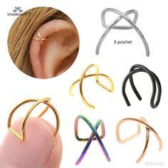 Cross Earring Helix Ring Fake PiercingBo Cute X Shaped Cross Helix Piercing Earring Orelha Stainless Steel Helix Ring Lip Fake Piercing Ear Pircing Helix Earrings Hoop Body Jewelry Jewelry Rack, Ear Jewelry, Cute Jewelry, Body Jewelry, Jewellery, Jewelry Crafts, Jewelry Ideas, Helix Earrings Hoop, Cross Earrings
