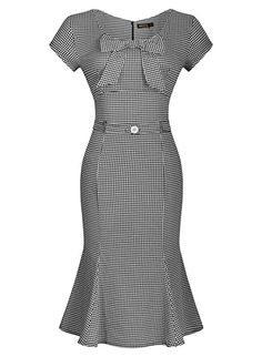 Miusol Womens Vintage Houndstooth-Print Bow Slim Retro Evening Dress Miusol www Vintage Outfits, Vintage Dresses, Classy Outfits, Vintage Clothing, Cute Dresses, Short Sleeve Dresses, Dresses For Work, Dress Skirt, Bodycon Dress