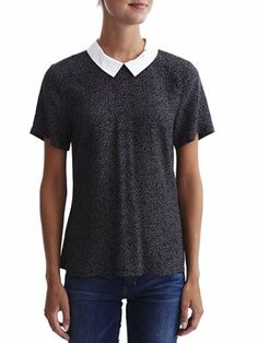 MINIMAL - ANIMAL PRINTET SHORT SLEEVED TOP, Total Eclipse