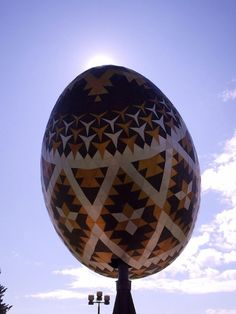 The world's largest pysanka was erected in Vegreville, Alberta in 1974, commemorating the 100th anniversary of the Royal Canadian Mounted Police