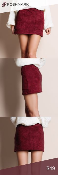 """Suede Burgundy Mini Skirt Burgundy faux suede mini skirt. Runs true to size. This is an ACTUAL PIC of the item - all photography done personally by me. Model is 5'9"""" 32-24-36 32A wearing the size small. NO TRADES DO NOT BOTHER ASKING. PRICE FIRM. Bare Anthology Skirts Mini"""
