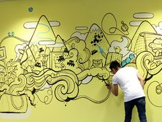 Sumo Digital design computer games for clients such as Sega & Microsoft. I was lucky enough to be asked to come down and doodle on their main office wall for the staff.   I went straight in wit...