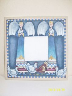 Chickens And Angels on Hand Painted Mirror by ToletallyPainted