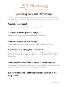 Five Whys Worksheet Excel Spirituality In Recovery Worksheets Pdf  Psi  Pinterest  Yearly Budget Worksheet Excel with Informal Letter Writing Worksheets Squashing Your Ants Automatic Negative Thoughts Worksheet For  Understanding Triggers Of Negative Thoughts Therapy Worksheetsnegative  Algebra 2 Matrices Worksheets Pdf