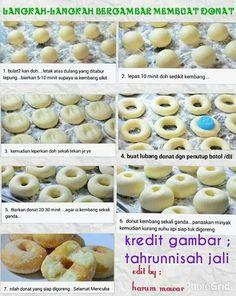 Langkah2 bergambar membuat donut Apple Donut Recipe, Donut Recipes, Bread Recipes, Cake Recipes, Cooking Recipes, Bbq Steak, Malay Food, Pastry Design, Bun Recipe