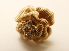 Size 5 Vintage Brushed Gold Tone Designer by TheJewelryCabinet