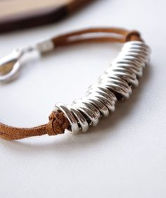 Leather and wire or jump rings