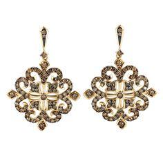 Tivolia Collection 14K Yellow Gold Cognac Diamond Cross Earrings