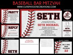 Baseball Bar Mitzvah Invitation RSVP Thank You by OneWhimsyChick