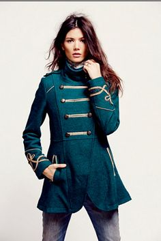 Free People Military Wool Coat at Free People Clothing Boutique. I want this SOOOO badly. Military Inspired Fashion, Military Fashion, Military Style, Militar Jacket, Steampunk Jacket, Winter Trench Coat, Trench Coats, Wool Coats, Fall Wardrobe