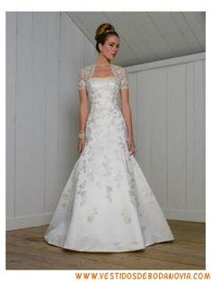 modesto Satén traje de novia con cola