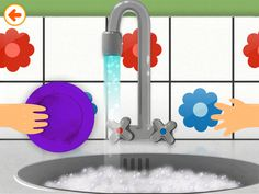 Cleaning the dishes in Toca House by Toca Boca. http://itunes.apple.com/us/app/toca-house/id495680460?mt=8 #apps #kids #children #ipad #iphone #tocaboca #tocahouse