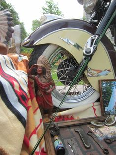 Close up of a displays by the Motorcyclist's Post. – Indian Motocycle Day: July 21, 2013