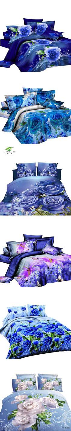 Blue Flowe 3D Duvet Cover Diagonal Printing Bedding Sets Queen Size Bedding Sets for Girls Wholesaling Bed Linen China