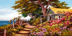 'Pleasant Situation' by Erin Dertner ~ 22x44 - Impressionist Oil painting of coastal home and inviting stairs, nestled beneath a cypress perched atop a Northern California bluff. This is an extra-large signed and numbered Limited Edition Giclée Reproduction on premium quality paper.