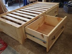 Twin storage bed with full extension drawers