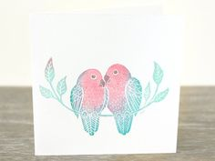 Love birds postcard, handprinted card, hand printed, x inches Postcard Paper, Love Birds, Hand Carved, Art Pieces, Card Making, Greeting Cards, My Arts, Carving, Place Card Holders