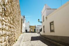 The street in historic center of Faro, Portugal.