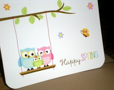 Easter Owls in swing Note Cards  Couple or by ClaudiaCurtiDesigns, $18.00