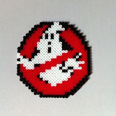 Ghostbusters in Perler Beads Melty Bead Patterns, Hama Beads Patterns, Beading Patterns, Pixel Beads, Art Perle, Hama Beads Design, Perler Bead Templates, Fusion Beads, Iron Beads