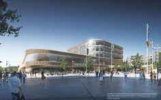 Danish Architecture Firm wins the competition to design a new aquatic center in Linköping, Sweden, beating Zaha Hadid architects, Erséus Arkitekter, Henning Architecture Visualization, Facade Architecture, Win Competitions, Supermarket Design, Bar Interior Design, Mall Design, Zaha Hadid Architects, Modern Buildings, Architect Design