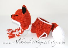 FOX BABY COSTUME -  Photo Prop  - Baby Hat and Diaper Cover - acrylic  - Made To Order. $59.00, via Etsy.