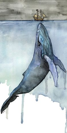 Watercolor Whale Painting - Print titled, Fathoms Below Boat, Whale Art, Whale Print, Beach Decor, Whale Nursery, Humpback Whale Painting