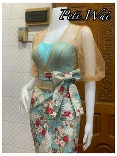 Lace Dress Styles, Sleeves Designs For Dresses, Asian Prom Dress, Traditional Dresses Designs, Myanmar Dress Design, Myanmar Traditional Dress, Batik Fashion, Latest African Fashion Dresses, Batik Dress