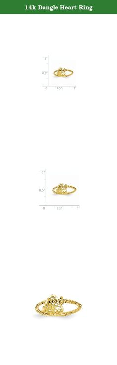 14k Dangle Heart Ring. Attributes Solid Casted Diamond-cut Polished 14k Yellow gold Filigree Product Description Material: Primary - Purity:14K Material: Primary:Gold Width of Item:1 mm Product Type:Jewelry Jewelry Type:Rings Sold By Unit:Each Material: Primary - Color:Yellow Ring Type:Themed Ring Top Length:9 mm Ring Top Width:9 mm.