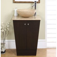 Silkroad Exclusive Single Sink Cabinet - Travertine Top - Pre-drilled for topmount sink - - Single Vanities - - X X Travertine Counter Top- Vessel Sink Bowl (Not Included)- Pre-drilled for Sin 20 Inch Bathroom Vanity, Small Bathroom Vanities, Bathroom Vanity Cabinets, Vanity Sink, Modern Bathroom, Small Vanity, Bathroom Ideas, White Bathroom, Bathroom Furniture