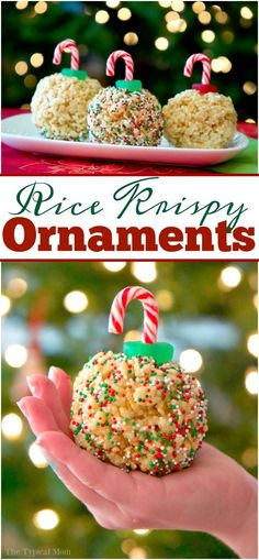 Rice Krispy treat ornaments are fun and a great no bake Christmas dessert! Just a few simple ingredients and they're ready in less than 10 minutes too! via @thetypicalmom