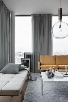 cortinas de salon cortinas gruesas con visillo en gris saln funcional lmpara moderna - Cortinas Salon