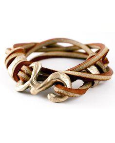 love this clasp! brown rawhide wrap bracelet