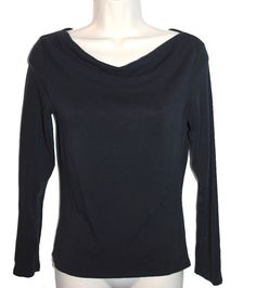 GAP Black Drape Draped Neck Long Sleeve Stretch Jersey Dressy Tee T-Shirt Top XS #Gap #KnitTop #Career