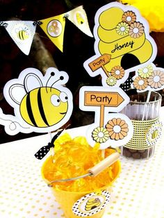 Bumble Bee Party Ideas - Find more Bumble Bee Birthday Party Ideas at http://www.birthdayinabox.com/party-ideas/guides.asp?bgs=158