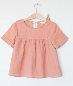ETHEL Blouse Peach - Les Petits Carreaux - Fine Kids' Clothing