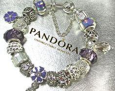 Autentica pulsera de Pandora, plata esterlina, o elegir, platino plateado europeo pulsera, ambos con los granos no marca y encantos, PE215