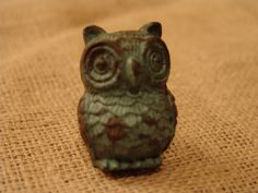 Owl Pull Knob,  Blue Pewter Distressed Finish, Antique, Cabinet, Drawer