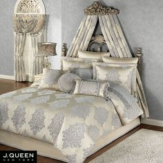 give your bedroom a luxurious ornate look with windsor fleur medallion comforter bedding by j queen new york oversized polyester comforter has a - J Queen New York Bedding