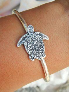 Sea Turtle Sterling Silver Beach Cuff Bracelet