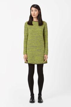 COS   Leather trim knit dress