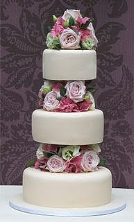 Tiered cake with fresh flowers